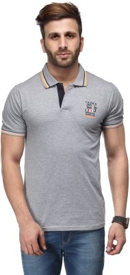 Ausy Solid Men's Polo Grey T-Shirt