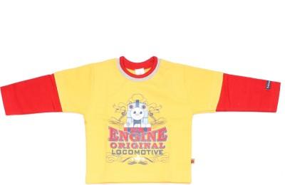 Babiano Printed Boy's Round Neck Yellow, Red T-Shirt