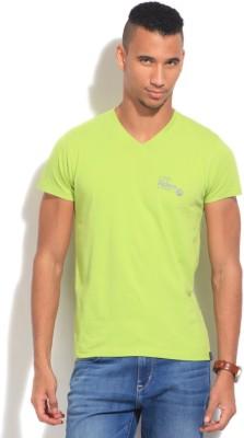 Lee Solid Men's V-neck Green T-Shirt