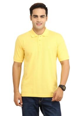 BepoyZ Solid Men's Polo Neck Yellow T-Shirt
