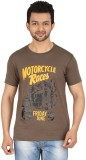 Cipria Printed Men's Round Neck Brown T-...