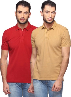 GOAT Solid Men's Polo Neck Maroon, Beige T-Shirt