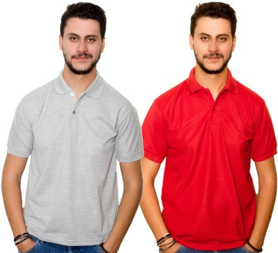 Dreamz Clothing Co Solid Men,s Polo Neck Grey, Red T-Shirt