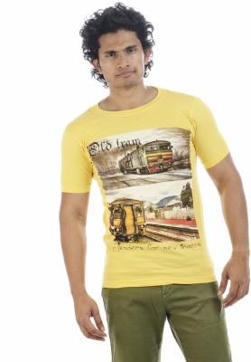 Adventure Printed Men's Round Neck Yellow T-Shirt