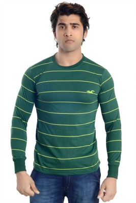 Parv Collections Striped Men's Round Neck Green T-Shirt