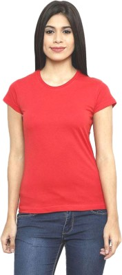 Clo Clu Solid Women's Round Neck Red T-Shirt
