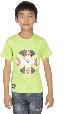 Ocean Race Printed Boy's Round Neck Light Green T-Shirt