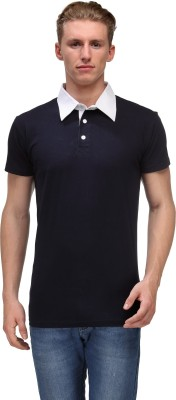 Hubberholme Solid Men's Polo Neck Dark Blue, White T-Shirt