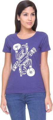 Alibi By Inmark Printed Women's Round Neck Blue T-Shirt