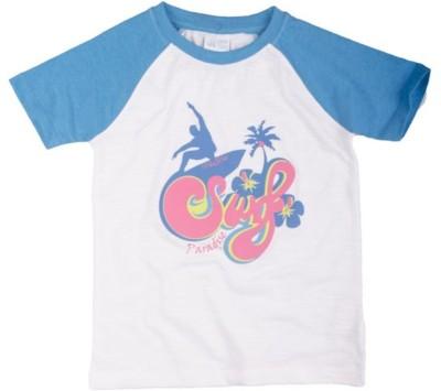 Mini Club Printed Boy's Round Neck White, Blue T-Shirt