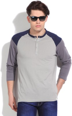 FREECULTR Solid Men's Henley Blue, Grey T-Shirt