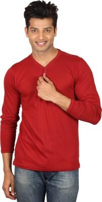 Poshuis Solid Men's Henley Maroon T-Shirt