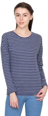 Hypernation Striped Women's Round Neck Blue T-Shirt