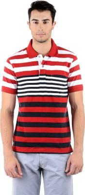 Mudo Striped Men's Polo Neck Red, White T-Shirt