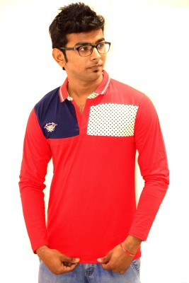 Sharp Fashion Printed Men's Polo Neck Red T-Shirt
