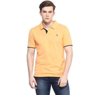 Ziera Solid Men's Polo Neck Yellow T-Shirt