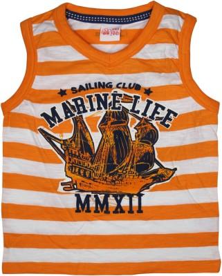 FS Mini Klub Striped Boy's V-neck Orange T-Shirt