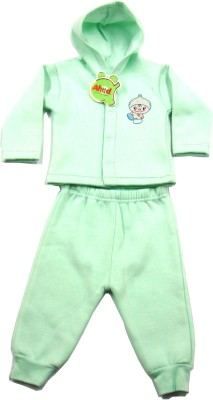 Ahad Solid Baby Boy,s, Baby Girl's Hooded Light Green T-Shirt