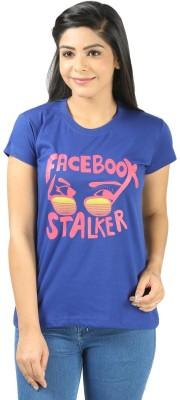 Shopdayz Printed Women's Round Neck Blue T-Shirt