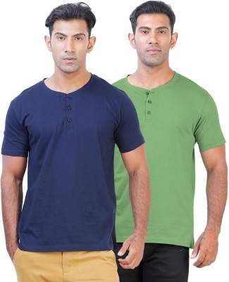 Click Hit Solid Men's Henley Blue, Green T-Shirt