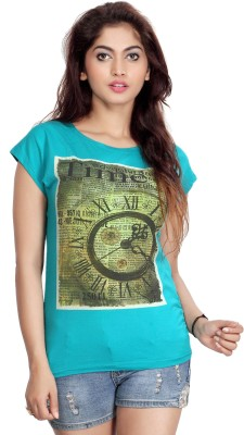 Comix Graphic Print Women's Round Neck Green T-Shirt