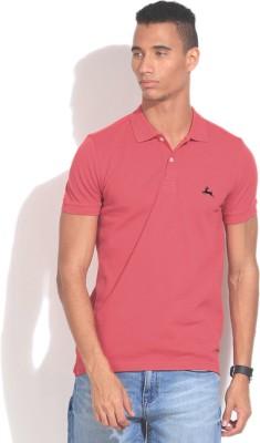 Deer Park Solid Men's Polo Neck Red T-Shirt