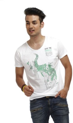 Chlorophile Printed Mens V-neck White T-Shirt