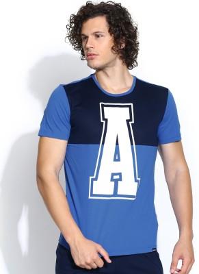 Adidas NEO Printed Men's Round Neck Blue T-Shirt