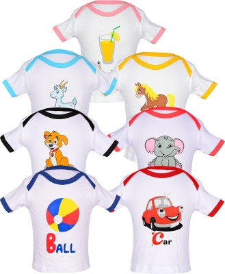 Gkidz Printed Baby Girl's Boat Neck Multicolor T-Shirt