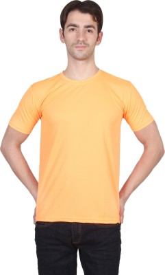 Randier Solid Men's Round Neck Orange T-Shirt