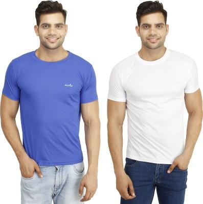 Eprilla Solid Men,s Round Neck White, Blue T-Shirt