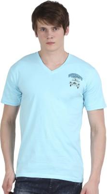 Tease Denim Embroidered Men's V-neck Light Blue T-Shirt
