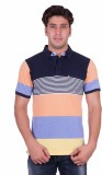 Venetian Striped Men's Polo Neck Blue, O...