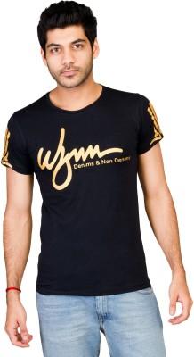 Wynn Printed Men's Round Neck Black T-Shirt