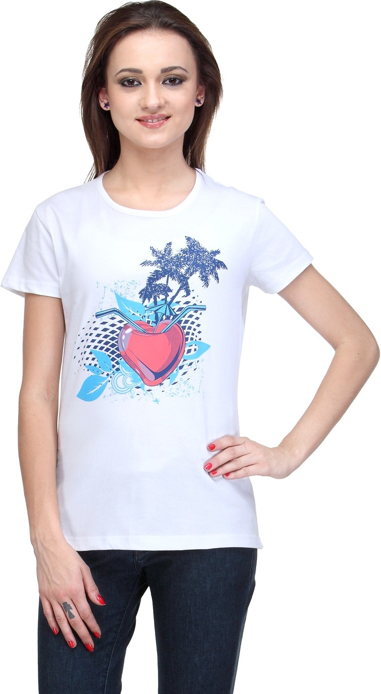 Compare stilestreet printed womens round neck white t for Round neck t shirts for ladies