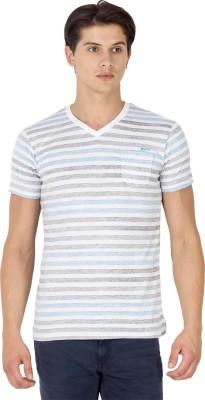 Mufti Striped Men's V-neck Multicolor T-Shirt