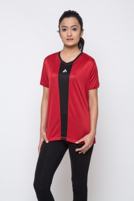Acetone Solid Womens V-neck Red, Black T-Shirt