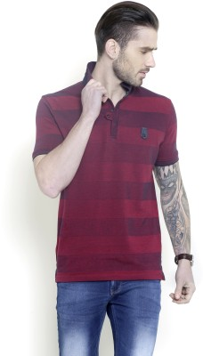 Metal Gear Striped Men's Polo Neck Red T-Shirt