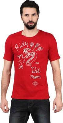 Ringspun Graphic Print Men's Round Neck Red T-Shirt