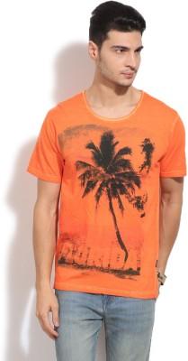 Indicode Printed Men's Round Neck Orange T-Shirt
