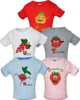 Gkidz Printed Boy's Round Neck Pink, White, Grey, Red T-Shirt