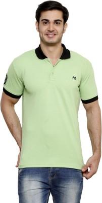 ominous Solid Men,s Polo Neck Light Green T-Shirt