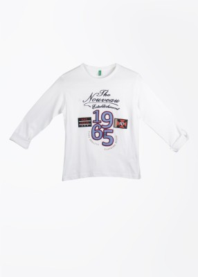 UCB Printed Boy's Round Neck White T-Shirt