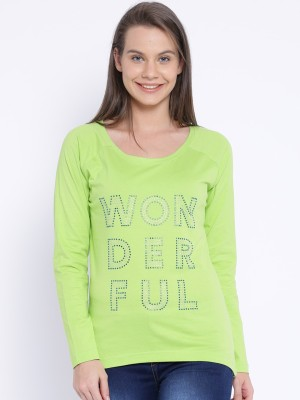 Le Bison Printed Women's Round Neck Green T-Shirt