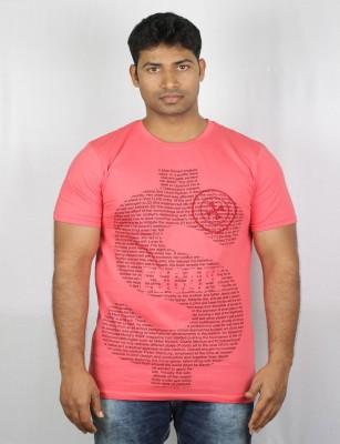 Mr Sha Printed Men's Round Neck Pink T-Shirt