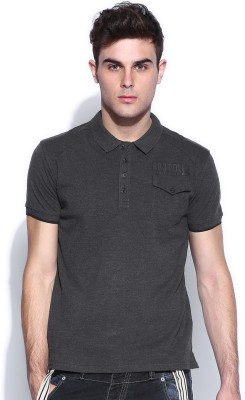 883 Police Solid Men's Polo Neck Black T-Shirt