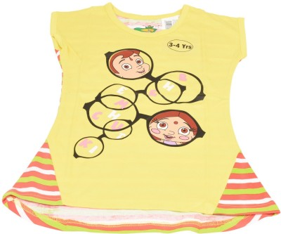 Green Gold Printed Boy's Round Neck Yellow T-Shirt