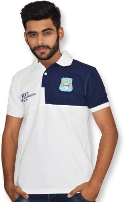 Manchester City FC Solid Men,s Polo Neck White T-Shirt