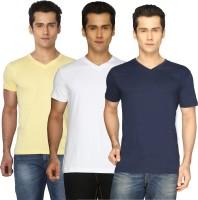 T Shirts (Men's) - Joke Tees Solid Men's V-neck Gold, White, Blue T-Shirt(Pack of 3)