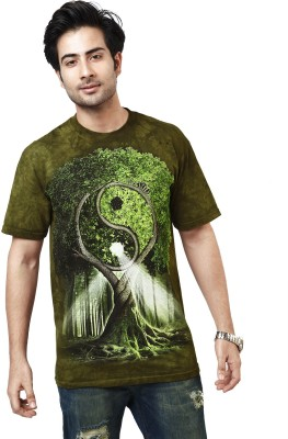 The Mountain Printed Men's Round Neck Dark Green, Green T-Shirt